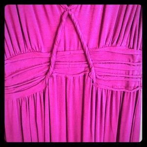 Raspberry cotton maxi dress with waist detailing